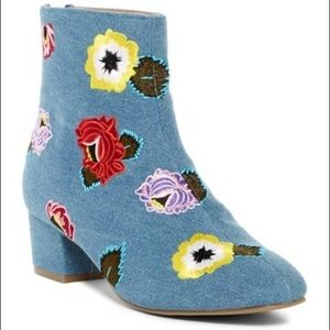Betsey Johnson Denim Twiggy Embroidered Boots